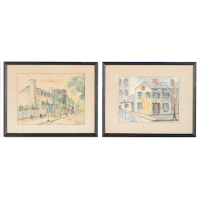 Hazel Camp Watercolor and Ink Paintings of Street Views, Late 20th Century