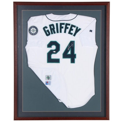 Ken Griffey Jr. Upper Deck Signed Mariners Replica Home White Jersey, Frame  COA