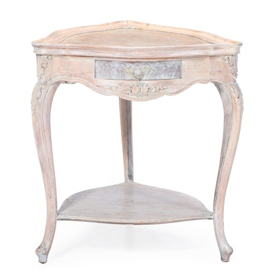 Louis XV Style Whitewashed Beech and Burlwood Two-Tier Side Table, 20th Century
