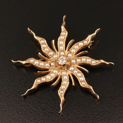 Edwardian 14K Pearl and Diamond Sunburst Converter Brooch