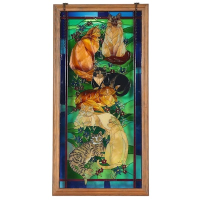 Cats in a Field Stained Glass Hanging Window Panel
