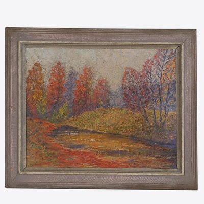 "Impasto Landscape Oil Painting ""Greasy Creek, Indiana,"" Late 20th Century"