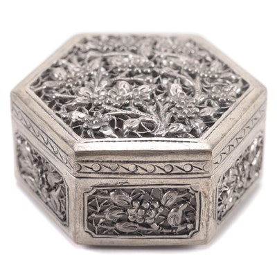 Chinese Silver Tone Metal Pierced Trinket Box