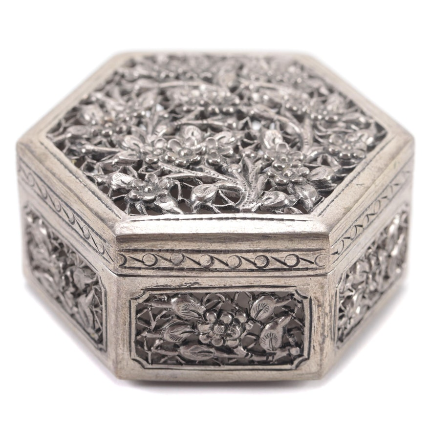 Chinese Silver Tone Metal Pierced Trinket Box