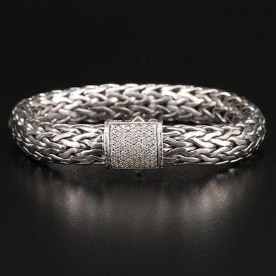 John Hardy Sterling Silver Bracelet with Diamond Clasp