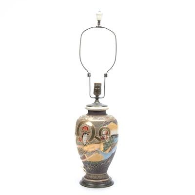Japanese Satsuma Portrait Vase Table Lamp