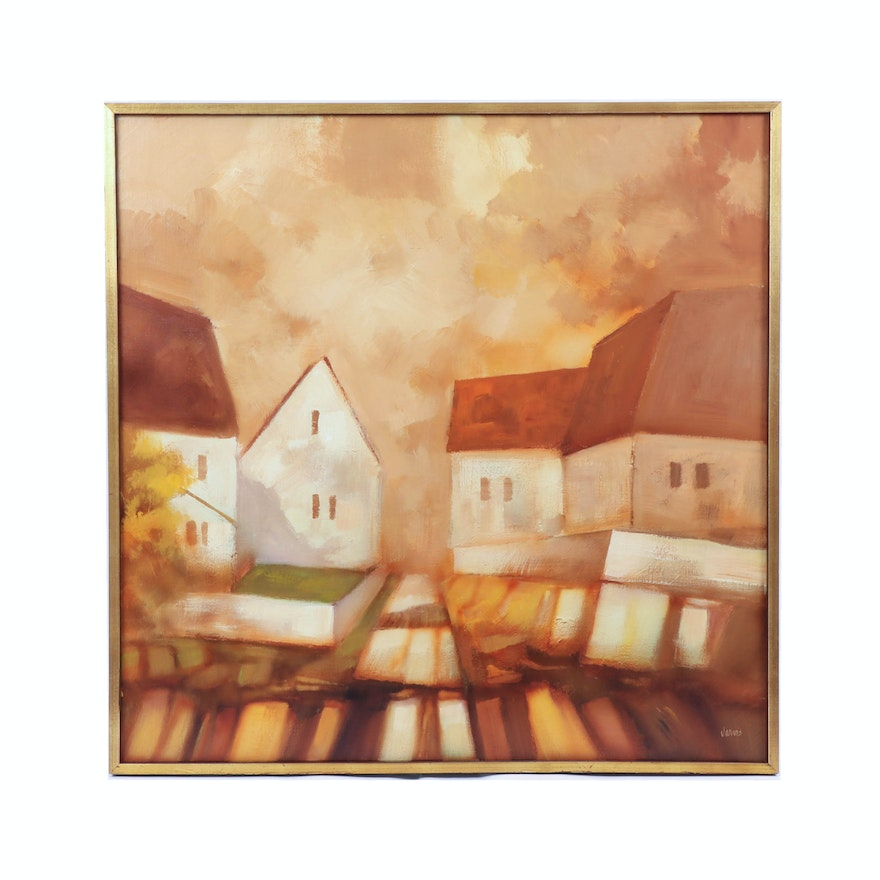 Jarvis Oil Painting of Neighborhood, Mid to Late 20th Century