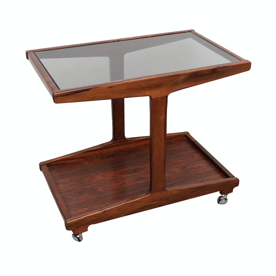 Danish Modern Glass and Rosewood-Patterned Cocktail Table, 20th Century