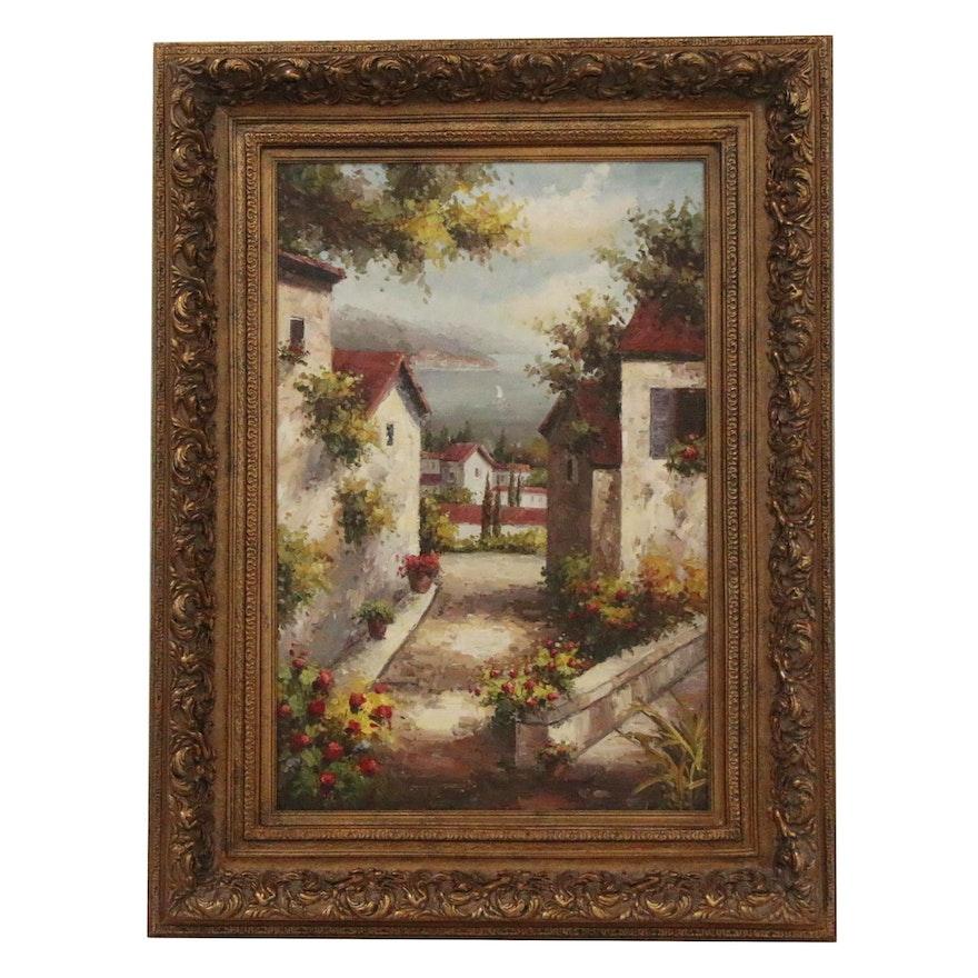 Decorative Acrylic Painting of Tuscan Village, 21st Century