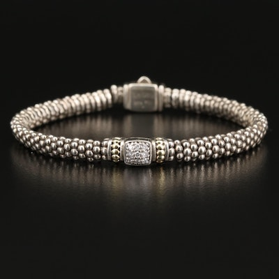 Lagos Sterling Silver Diamond Beaded Bracelet with 18K Accents