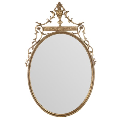 Adams Style Gilt Carved Oval Wall Mirror, Early to Mid  20th Century