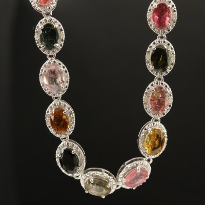Sterling Tourmaline and Diamond Halo Link Necklace