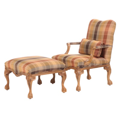 Century Furniture George III Style Plaid-Upholstered Beech Armchair and Ottoman