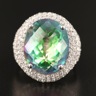 Sterling Silver Mystic Topaz and White Sapphire Ring with European Shank