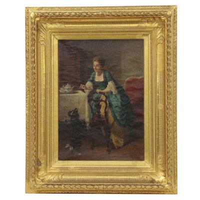 "August Borckmann Interior Genre Oil Painting ""Beim Frühstück,"" circa 1887"