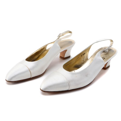 Salvatore Ferragamo White Satin Cap-Toe Block Heel Slingbacks