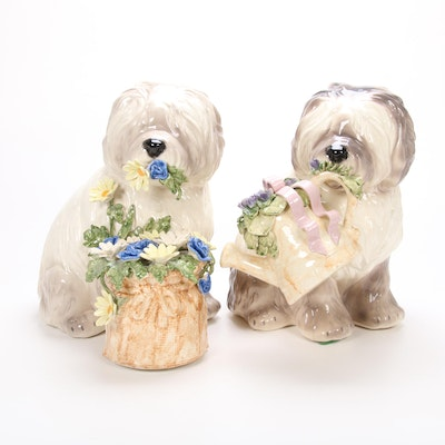 Betlar Porcelain Sheepdogs with Flowers Figurines, Late 20th Century