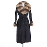 Via Di Cambio Fox Fur-Trimmed Coat with Reptile Embossed Leather Toggles