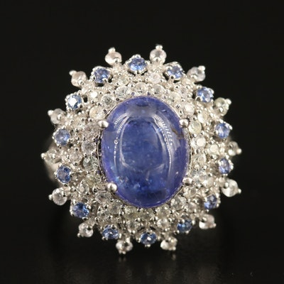 Sterling Silver Tanzanite and Sapphire Cluster Ring