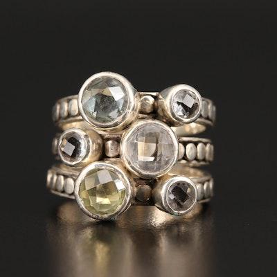 Lori Bonn Sterling Silver Prasiolite and Aquamarine Ring