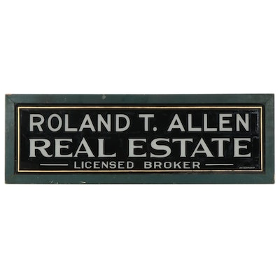 "Butterworth Painted Glass Sign ""Roland T. Allen Real Estate"""