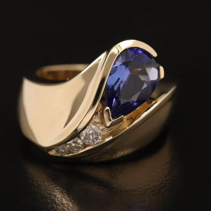 14K Tanzanite and Diamond Asymmetrical Motif Ring