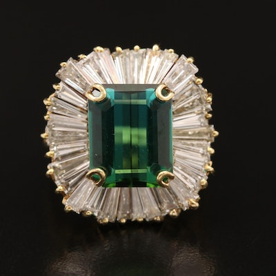 18K 4.50 CT Tourmaline and 4.41 CTW Diamond Ballerina Ring