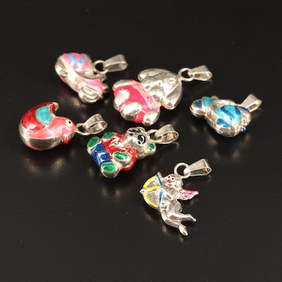 Sterling Silver Puffed Enamel Pendants Featuring Animals, Scooters and Cupid