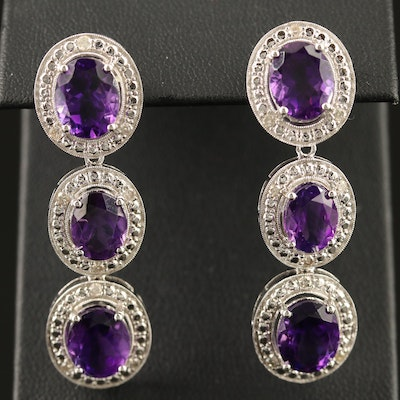 Sterling Amethyst and Diamond Dangle Earrings
