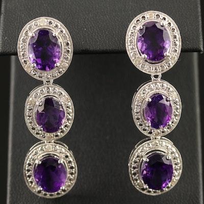 Sterling Amethyst and Diamond Dangle Earrings