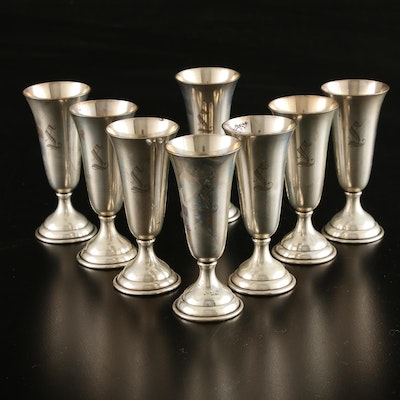 Randahl Etched Sterling Silver Cordials, Mid-20th Century