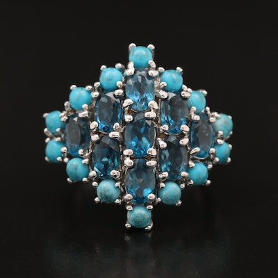 Sterling Silver Topaz and Faux Turquoise Cluster Ring