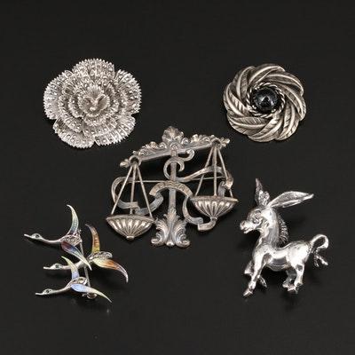 Selection of Brooches Featuring 1964 Tortdani Crislu and Sterling by Cini
