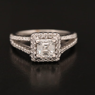 14K 1.28 CTW Diamond Halo Ring with GIA Report