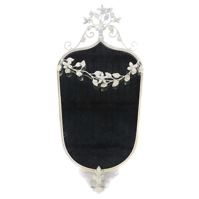 White-Painted Iron and Foliate-Decorated Mirror