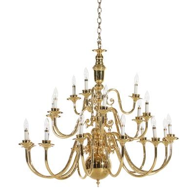 Brass Twenty-One Light Tiered Chandelier, Contemporary