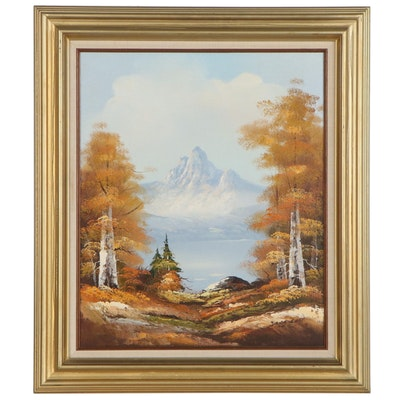 Idyllic Autumn Landscape Oil Painting, Mid to Late 20th Century