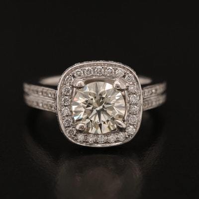 Henri Daussi 18K 1.94 CTW Diamond Halo Ring with 1.18 CT Center
