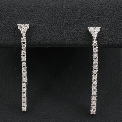 14K Diamond Line Drop Earrings