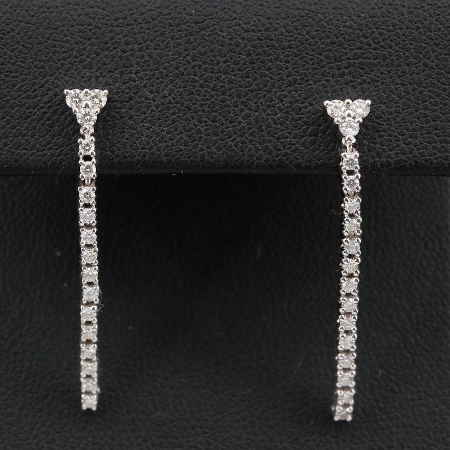 14K Diamond Line Drop Earrings