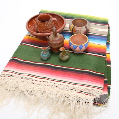 Antique Red Ware and Mexican Terracotta Pottery and Woven Blanket