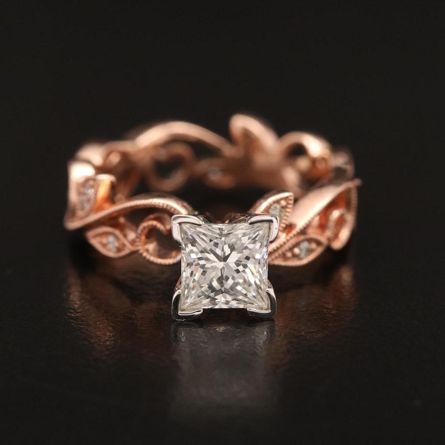 14K Rose Gold 1.15 CTW Diamond Ring with Foliate Motif