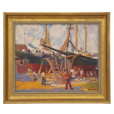 "Reginald ""Reggie"" Leslie Grooms Oil Painting ""On The Ways,"" 1984"