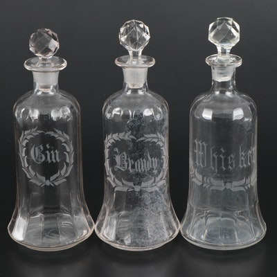 Engraved  Decanters Labeled Gin, Brandy and Whiskey, Antique