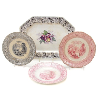 English Hand Colored Seaweed Platter and Other Ironstone Plates, Mid 19th C.