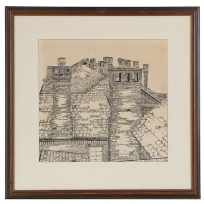 Pen and Ink Drawing of Rooftops, Mid 20th Century