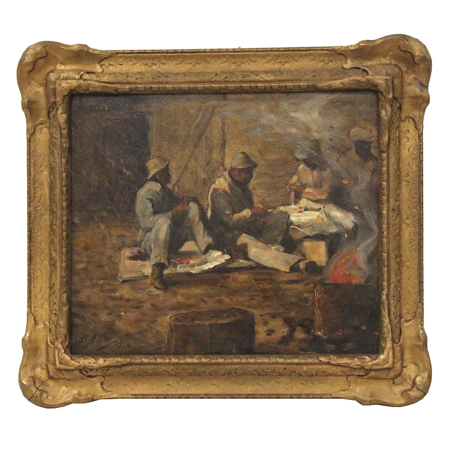 """Matthew Daly Oil Painting """"Hod Carriers at Lunch"""", 1920"""