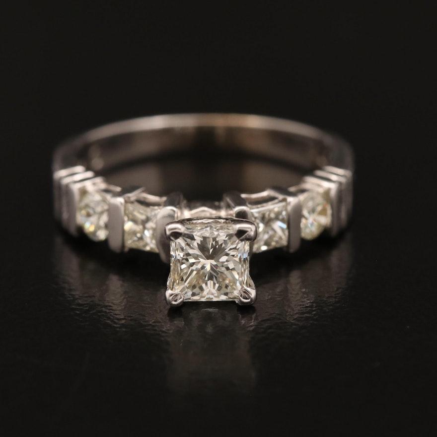 18K 1.05 CTW Diamond Ring with 14K Head