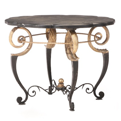 Italianate Ebonized and Parcel-Gilt Dining Table