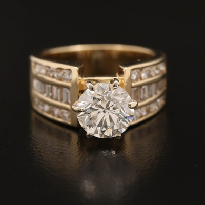 14K 3.20 CTW Diamond Ring with 2.03 CT Center